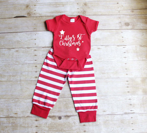 Newborn Red Striped Christmas Pjs - Atlanta Monogram