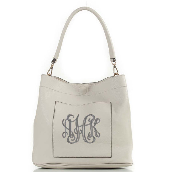 Monogrammed blush pink bucket bag 2in1 gold tone hardware, personalized purse - Atlanta Monogram