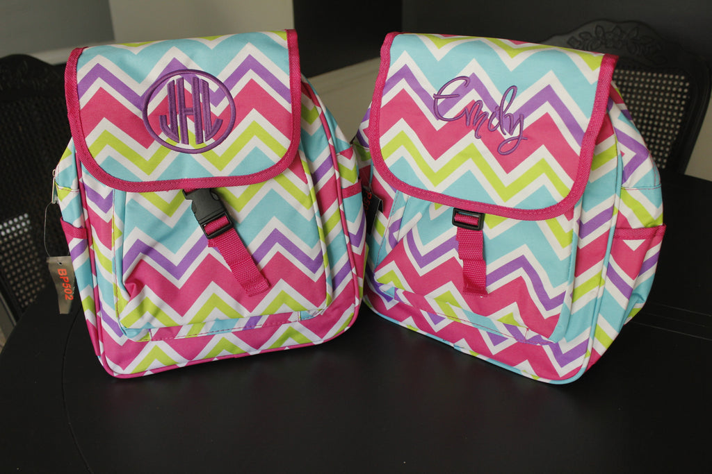 Monogrammed Rainbow Pink Chevron toddler backpack - Atlanta Monogram