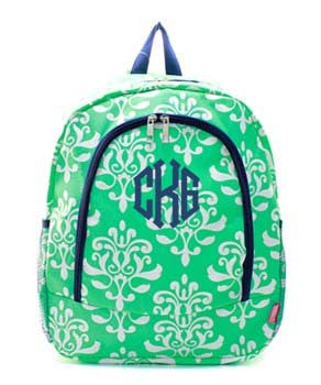 Mint Bloom Damask Personalized backpack by Atlanta Monogram - Atlanta Monogram