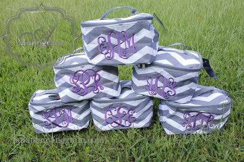 Chevron Cosmetic Cases - Atlanta Monogram