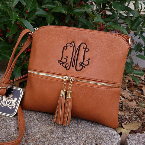 Camel tassel cross body hipster bag Monogrammed purse - Atlanta Monogram