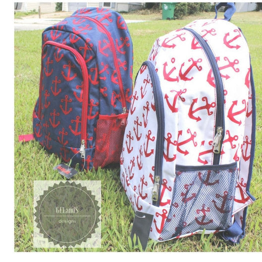 Personalized Red and Blue Anchor backpack- Monogrammed backpack Same or Next day Shipping - Atlanta Monogram