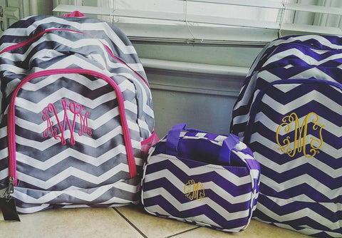 Grey and Pink Chevron backpack - Atlanta Monogram