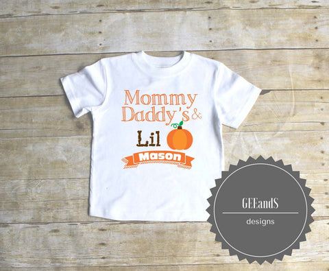 Mommy & Daddy's lil Pumpkin Personalized thanksgiving shirt