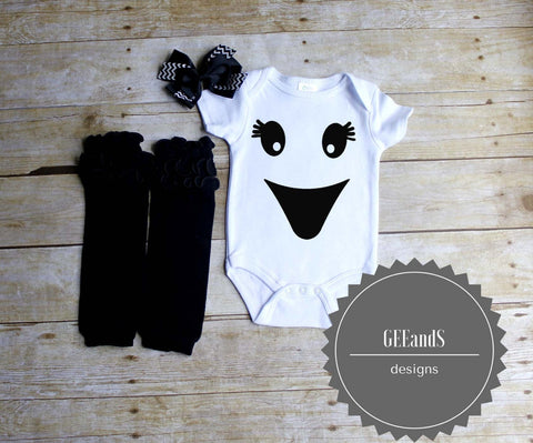 Girly ghost face shirt, leg warmers, and head band  set