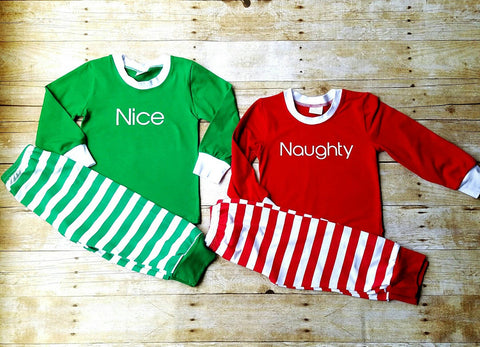 Christmas Pajamas Green stripes pjs-Clearance