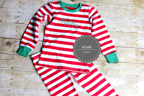 Personalized Christmas Pajamas-Red and White Striped Christmas pjs PRE ORDER