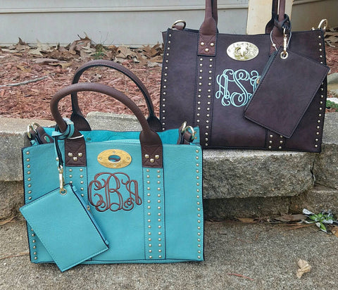 Monogrammed 2in1 Grommet Personalized Handbag - Atlanta Monogram