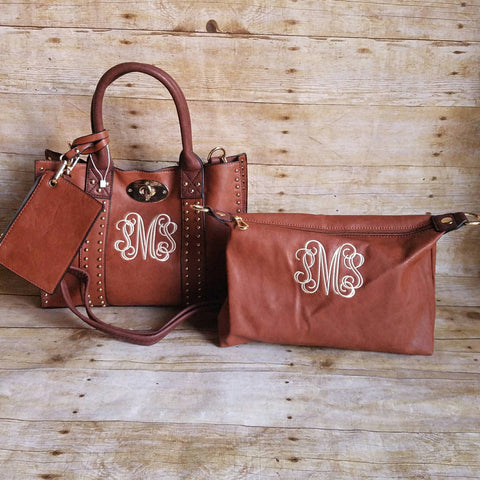 Monogrammed Handbag 4pc set in Camel Grommets - Atlanta Monogram