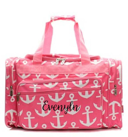 Pink Anchor Monogrammed duffle bag - Atlanta Monogram