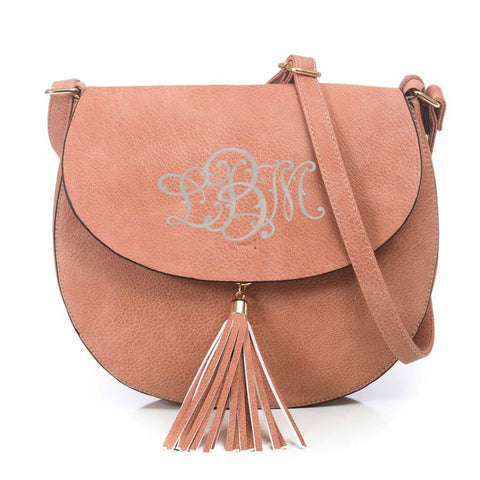 Monogram Taupe Cross Body tassel hipster tribal personalized bag - Atlanta Monogram