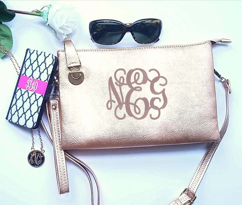 Rose Gold Monogrammed crossbody hipster wristlet clutch personalized purse - Atlanta Monogram