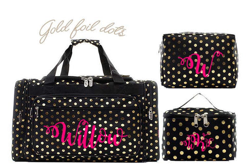 Monogrammed Gold dots duffle bag - Atlanta Monogram