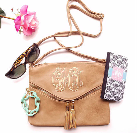 Monogrammed Cross body - Mocha tassel hipster bag -Personalized purse - Atlanta Monogram