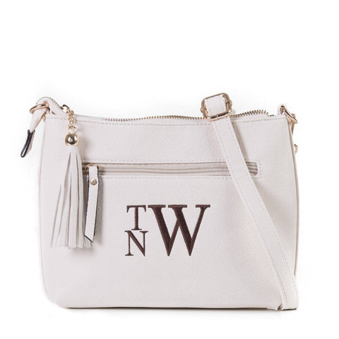 Monogrammed Zippered Tassel Cross body in white - Atlanta Monogram