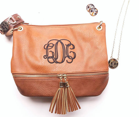 Monogrammed 2 toned zippered tassel Cross body - Camel-Personalized purse - Atlanta Monogram