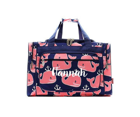 Navy and Pink Whale anchor duffel bag, Monogrammed travel bag. Personalized diaper bag