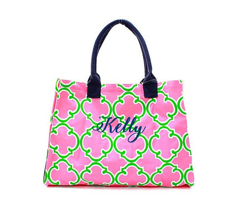 Hot Pink and Lime navy Quatrefoil Moroccan tote - Atlanta Monogram