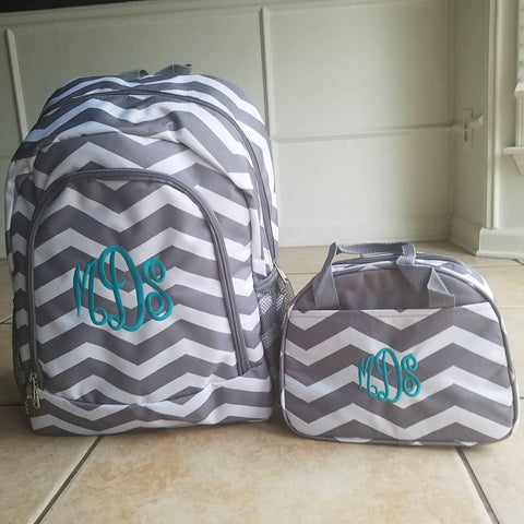 Monogram Grey Chevron backpack and lunch bag - Atlanta Monogram