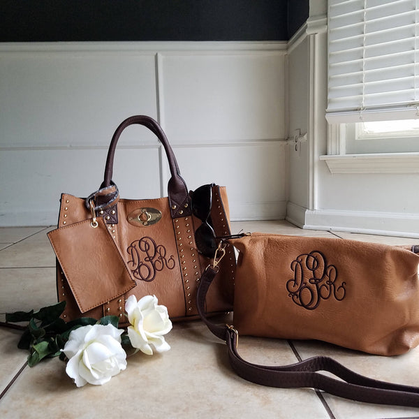 Monogrammed Purse and cosmetic Grommet bag 2pc set in Camel - Personalized handbags - Atlanta Monogram