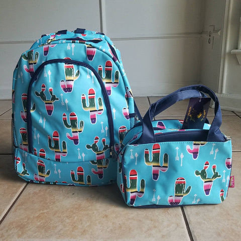 Aqua Cactus Backpack and Lunch bag - Atlanta Monogram