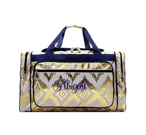 Monogram Duffel bag Gold and White ikat, Monogram duffle Gold ikat, personalized travel bag