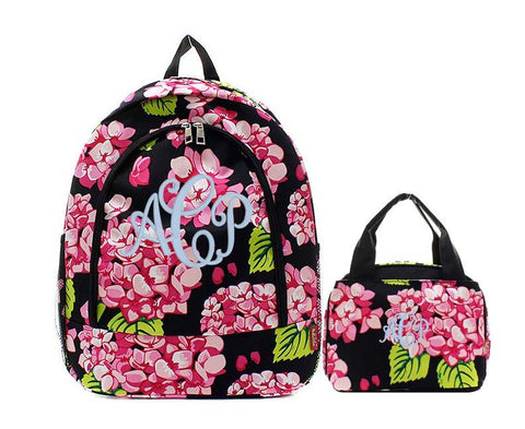 Black and Pink Hydrangea Flower backpack and lunch bag set