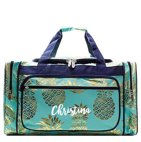 Monogrammed Aqua and Gold Pineapple Duffel bag