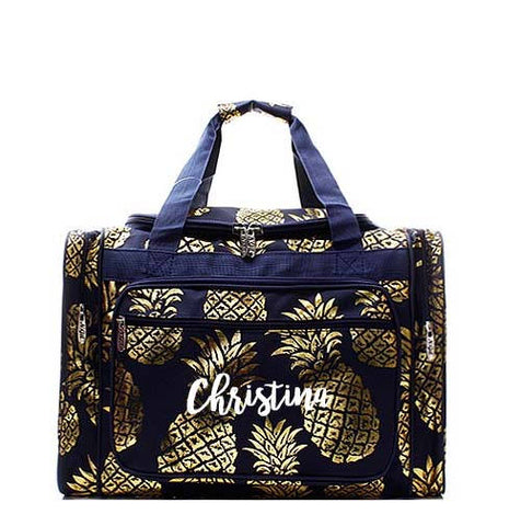 Monogrammed Navy and Gold Pineapple Duffel bag