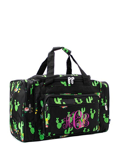 Personalized black cactus rose duffel bag
