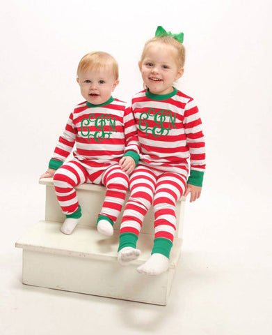 Red Stripe Christmas Pajamas - Atlanta Monogram