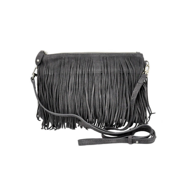 Charging Cross-body Bag Grey Fringe - LoveEmme, Product_Type, Product_Vendor