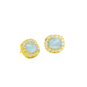 Reames Moonstone Studs: Aqua - LoveEmme, Product_Type, Product_Vendor