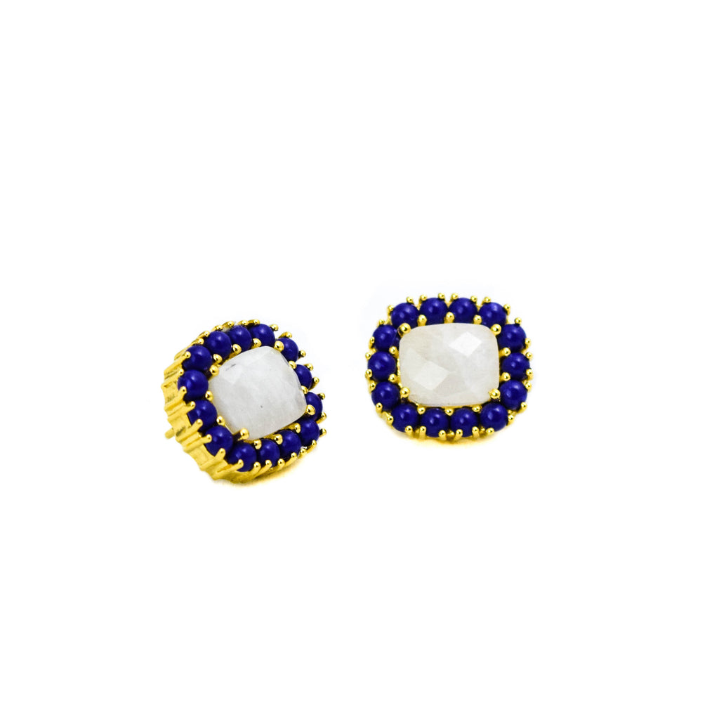 Reames Moonstone Studs: Lapis - LoveEmme, Product_Type, Product_Vendor
