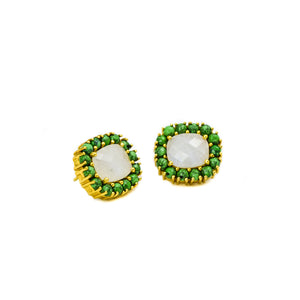 Reames Moonstone Studs: Green Turquoise - LoveEmme, Product_Type, Product_Vendor