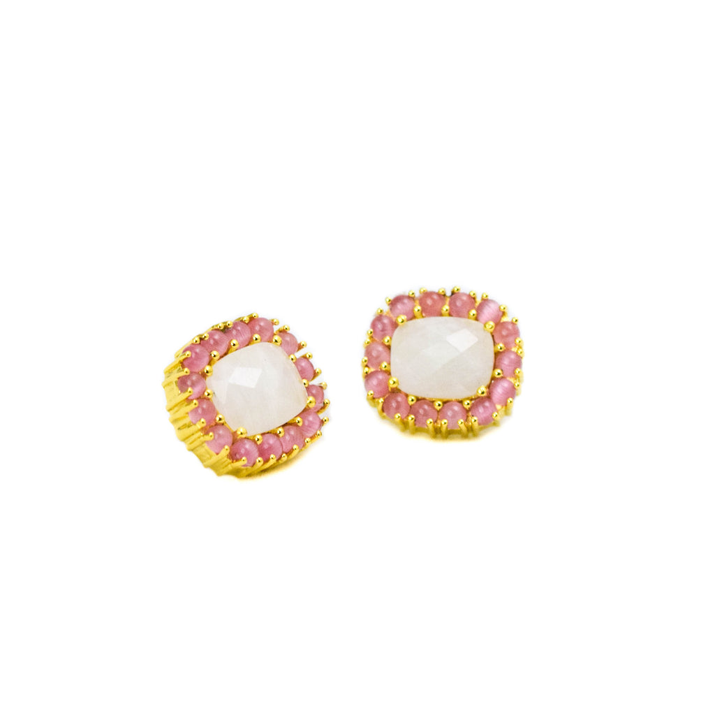 Reames Moonstone Studs: Pink Opal - LoveEmme, Product_Type, Product_Vendor