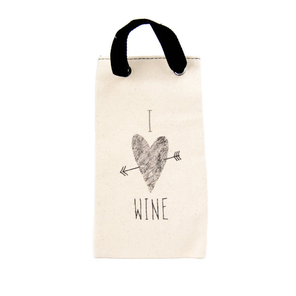 Canvas Wine Tote - I HEART WINE - LoveEmme, Product_Type, Product_Vendor
