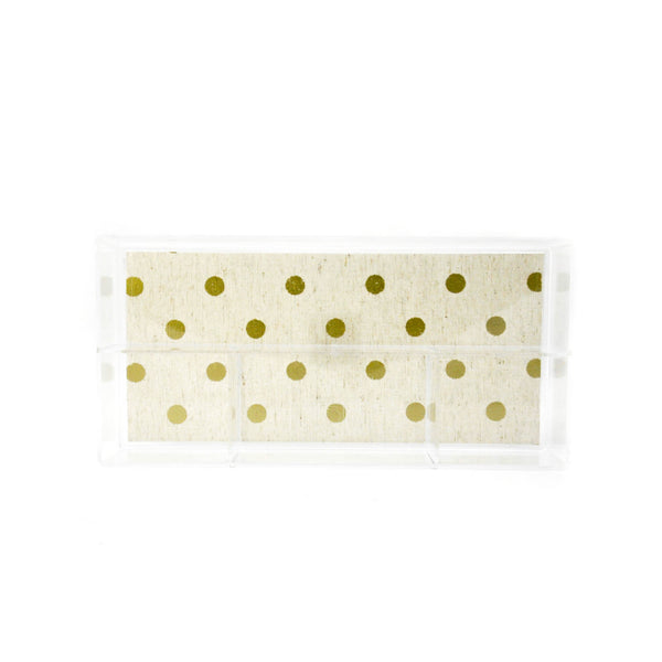 Small Acrylic Organizer- Gold Metalic Dot - LoveEmme, Product_Type, Product_Vendor