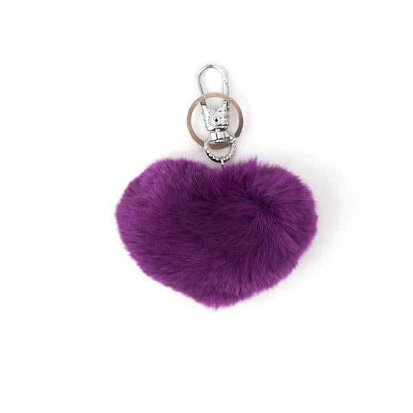Genuine Fur Heart Key Ring
