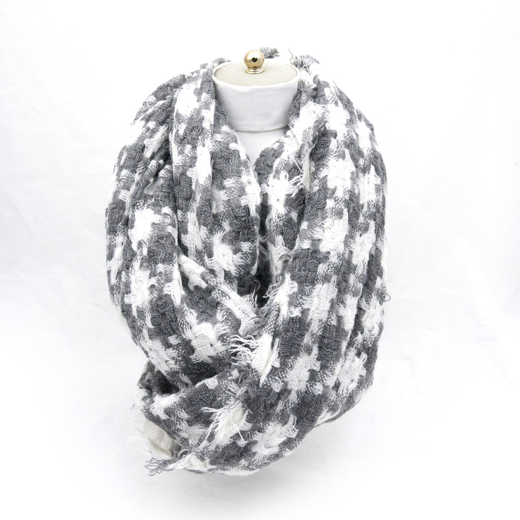 Grey & White Infinity Plaid Scarf - LoveEmme, Product_Type, Product_Vendor