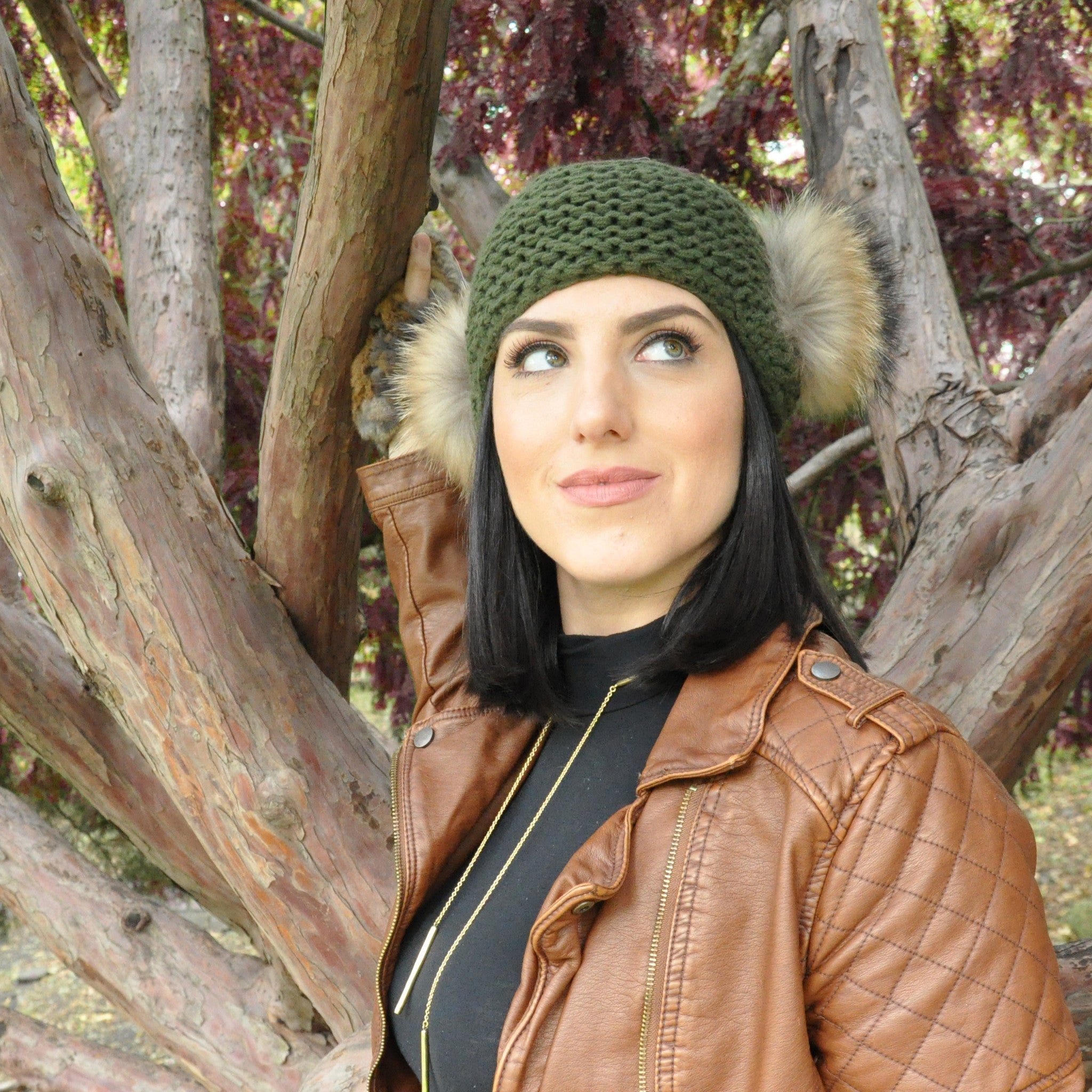 Olive Knit Pompom Headband - LoveEmme, Product_Type, Product_Vendor