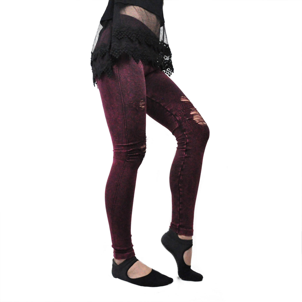 Burgundy Distressed Leggings - LoveEmme, Product_Type, Product_Vendor