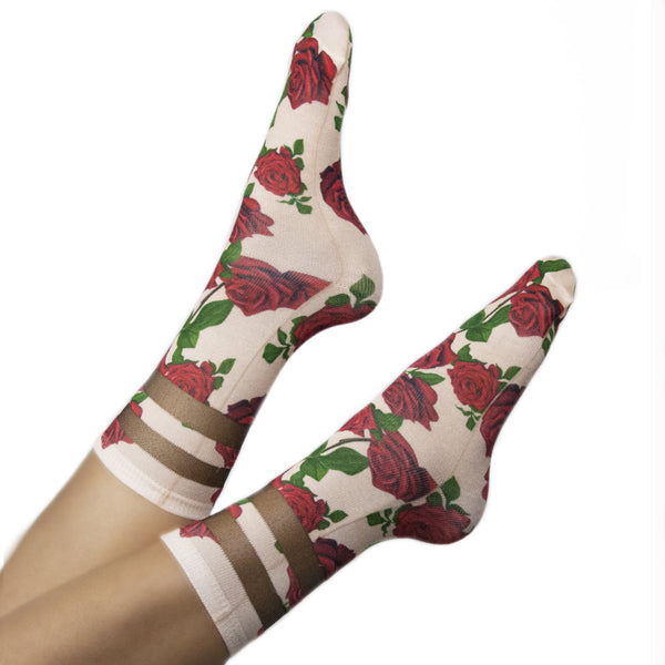 Red Rose Mesh Socks