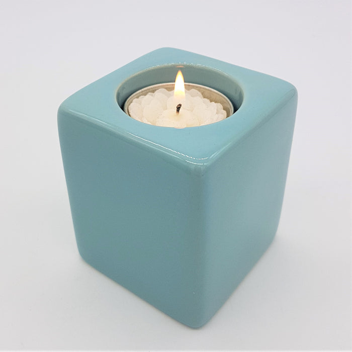 Short Square Ceramic Tealight Holder Pale Blue The Window Milford Haven