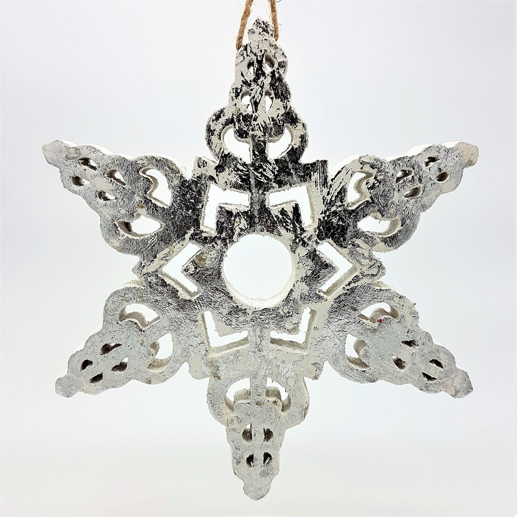 Large Silver On White Wooden Snowflake Hanging Ornament