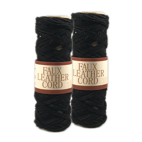 Faux Leather Cord 2.6mm x 5 meters - Black - 2 Pack