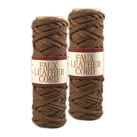 Faux Leather Cord 2.6mm x 5 meters - Brown - 2 Pack