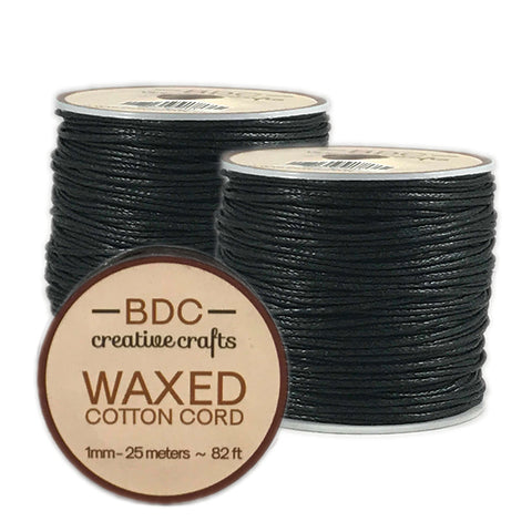 Waxed Cotton Cord Bracelet 1mm x 25 meters - Black - 2 Pack