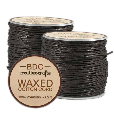 Waxed Cotton Cord Bracelet 1mm x 25 meters - Ivory - 2 Pack